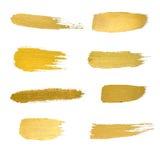 Sistema del ejemplo del extracto de la mancha de la pintura de la textura de la acuarela del oro S libre illustration