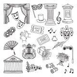 Sistema del ejemplo del garabato de símbolos del teatro Lira, prismáticos, máscaras Iconos del vector de la ópera ilustración del vector