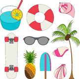 Sistema del ejemplo del vector de cosas preciosas del verano Imagen de archivo libre de regalías