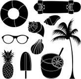Sistema del ejemplo del vector de cosas preciosas del verano Foto de archivo