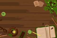 Sistema del ejemplo del vector de elementos del trabajo de la oficina y del negocio en una textura de madera del escritorio en di Imágenes de archivo libres de regalías