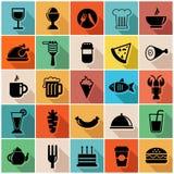 Sistema del ejemplo del vector de iconos coloridos de la comida adentro  Foto de archivo libre de regalías