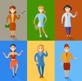 Sistema del ejemplo del vector de las mujeres de diversas profesiones Imagen de archivo
