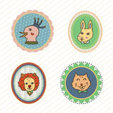 Sistema del ejemplo divertido del vector de las insignias de los animales Imagen de archivo libre de regalías