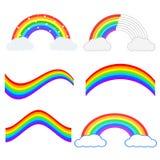 Sistema del ejemplo hermoso del arco iris Engrana el icono ilustración del vector