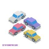 Sistema del ejemplo isométrico del vector de los coches Imágenes de archivo libres de regalías