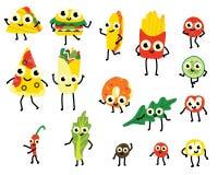 Sistema del ejemplo del vector de alimentos de preparación rápida y de personajes de dibujos animados vegetales de los ingredient ilustración del vector