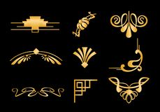 Sistema del ejemplo del vector de elementos y de bastidores de las fronteras del art déco en el color de oro, textura del oro bri stock de ilustración