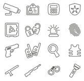 Sistema del ejemplo del vector de Icons Thin Line del sistema de seguridad o del agente de seguridad Fotos de archivo libres de regalías