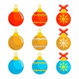 Sistema del ejemplo del vector del vector de las bolas de la Navidad Imagenes de archivo