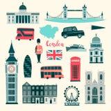 Sistema del ejemplo del vector de Londres Iconos de Reino Unido de la historieta Señales del turista de Londres libre illustration