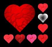 Sistema del ejemplo del vector de los corazones para el día de tarjetas del día de San Valentín Valentine Heart Symbol Fotografía de archivo