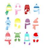 Sistema del ejemplo del vector de los sombreros coloridos del invierno o del otoño, colección del headwear Sombreros, bufandas y  stock de ilustración