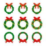 Sistema del ejemplo del vector del icono de las guirnaldas de la Navidad Foto de archivo