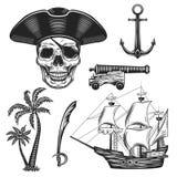 Sistema del ejemplo del vintage de piratas stock de ilustración