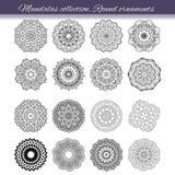 Sistema del elemento abstracto del diseño Mandalas redondas en vector Plantilla gráfica para su diseño Ornamento retro decorativo libre illustration