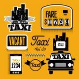 Sistema del elemento retro del diseño del vector para el taxi Foto de archivo libre de regalías