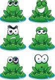 Sistema del Emoticon de la rana ilustración del vector