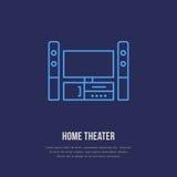 Sistema del entretenimiento con la línea plana icono de la pantalla en blanco Tecnología inalámbrica, muestra del teatro casero E Foto de archivo libre de regalías
