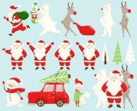 Sistema del equipo de la Navidad Santa Claus, reno, oso, muñeco de nieve, duende, coche, árbol de abeto ilustración del vector