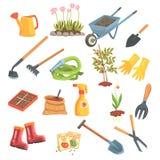 Sistema del equipo de los jardineros de objetos necesarios para cultivar un huerto y cultivar ejemplos aislados del vector Foto de archivo libre de regalías