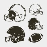 Sistema del equipo y del engranaje del fútbol americano Cascos y bola Ilustración del vector ilustración del vector