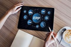 Sistema del ERP Planificación de los recursos de la empresa Automatización de proceso de negocio fotos de archivo libres de regalías