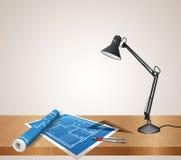 Sistema del escritorio del arquitecto Imágenes de archivo libres de regalías