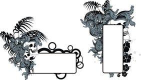 Sistema del espacio de la copia del tatuaje de las flores del trópico del hibisco del cráneo Fotografía de archivo