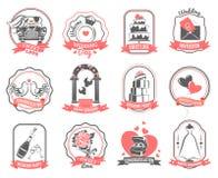 Sistema del esquema de los emblemas del compromiso de la boda de la boda Fotos de archivo