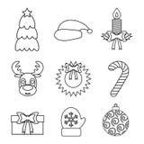 Sistema del esquema de los iconos de la Navidad Aislado Fotografía de archivo