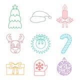 Sistema del esquema de los iconos de la Navidad multicolor Aislado Vector Fotografía de archivo