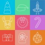 Sistema del esquema de los iconos de la Navidad multicolor Vector Imágenes de archivo libres de regalías