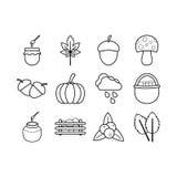 Sistema del esquema del icono del otoño Fotos de archivo libres de regalías