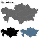 Sistema del esquema del mapa de Kazajistán Fotografía de archivo libre de regalías