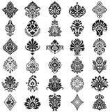Sistema del estampado de flores del damasco Imagen de archivo