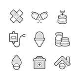 Sistema del farmacéutico médico Icons fotografía de archivo libre de regalías