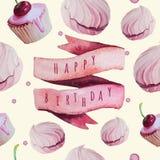 Sistema del feliz cumpleaños de la acuarela del vector EPS 10 Foto de archivo