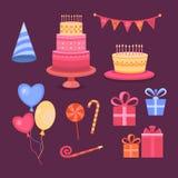 Sistema del feliz cumpleaños de los objetos Foto de archivo libre de regalías