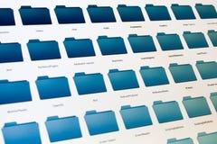 Sistema del fichero electrónico en la pantalla negra Fotografía de archivo