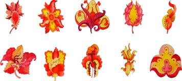 Sistema del flor aislado de la flor en color brillante Fotos de archivo