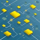 Sistema del flujo de datos con el fondo del código binario Fotografía de archivo libre de regalías
