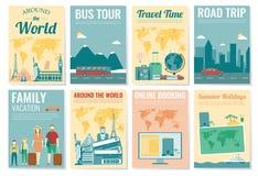 Sistema del folleto del viaje y del turismo Plantilla de la revista, cartel, cubierta de libro, bandera, aviador Vector libre illustration