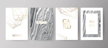 Sistema del folleto elegante moderno, tarjeta, fondo, cubierta Textura de mármol gris, negra ilustración del vector