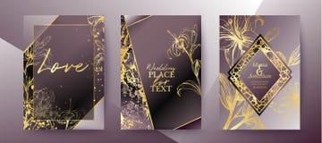 Sistema del folleto elegante, tarjeta, fondo, cubierta, casandose la invitación stock de ilustración