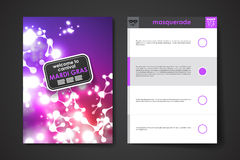 Sistema del folleto, plantillas del diseño del cartel en el estilo de Mardi Gras Imagenes de archivo