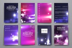 Sistema del folleto, plantillas del diseño del cartel en el estilo de Mardi Gras Foto de archivo libre de regalías
