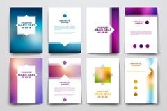 Sistema del folleto, plantillas del diseño del cartel en el estilo de Mardi Gras Foto de archivo