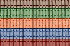 Sistema del fondo coloreado de las tejas de tejado, 3D Foto de archivo
