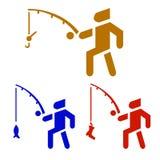 Sistema del fondo de la actividad del pescador en icono del vector libre illustration